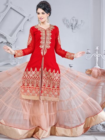 https://static6.cilory.com/122462-thickbox_default/designer-red-peach-lehenga-suit-style-party-wear-semi-stitched-suit.jpg