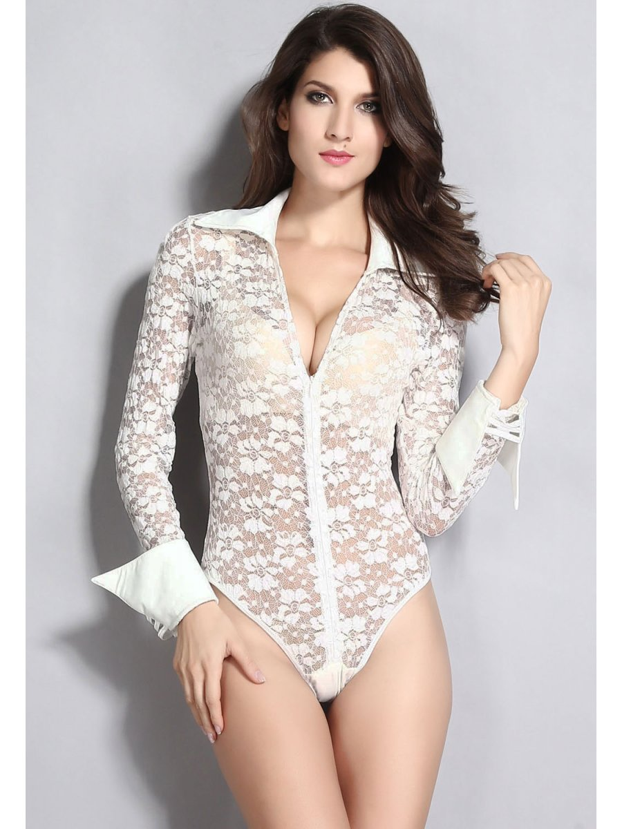 Buy Costumes Online | White Sheer Lace Long Sleeves ...