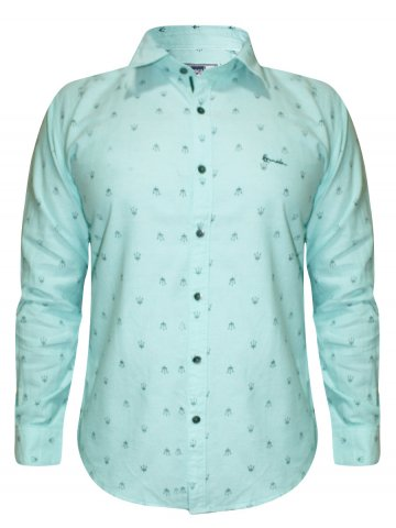 Romain Pure Cotton Sea Green Printed Shirt at cilory