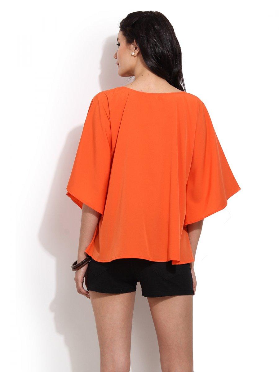 Orange Top With Umbrella Sleeves The Vanca