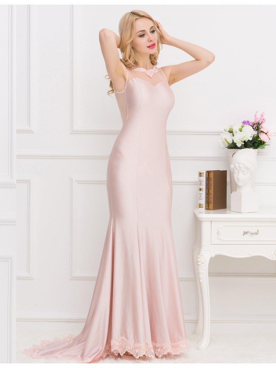 Apricot Transparent Gauze Evening Dress   V1004   Cilory.com