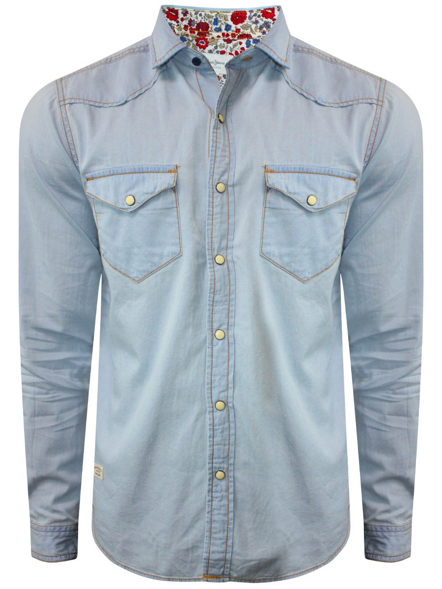 Pepe Jeans Light Blue Casual Denim Shirt | Pimw100083-sky-blue | Cilory.com