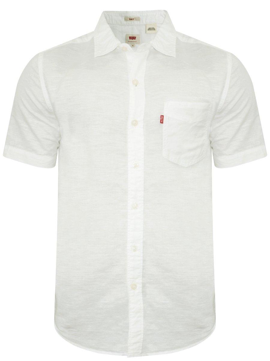 levis white cotton linen half sleeves shirt 24577 0000