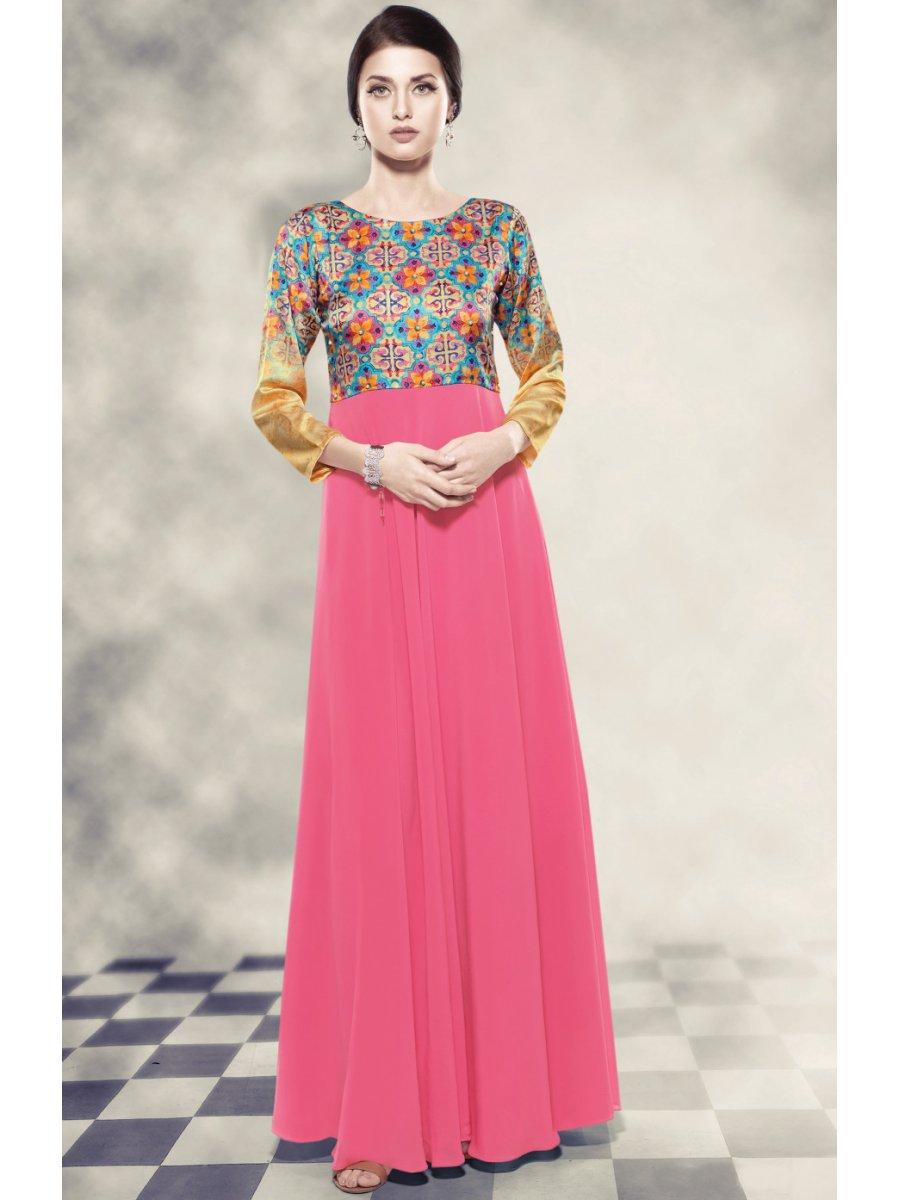 Blush Pink & Golden Gown Style Kurti | B-7204 | Cilory.com