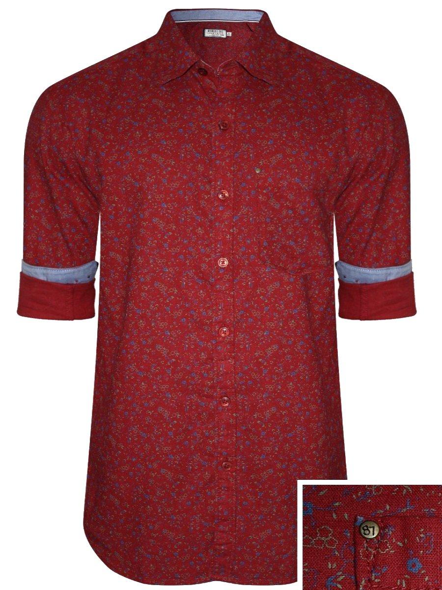 a510ba6f94201 Numero Uno Pure Cotton Red Linen Cotton Shirt