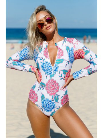 Buy Swimming Costume Online India Pink Blue Peony Long Sleeve Zip