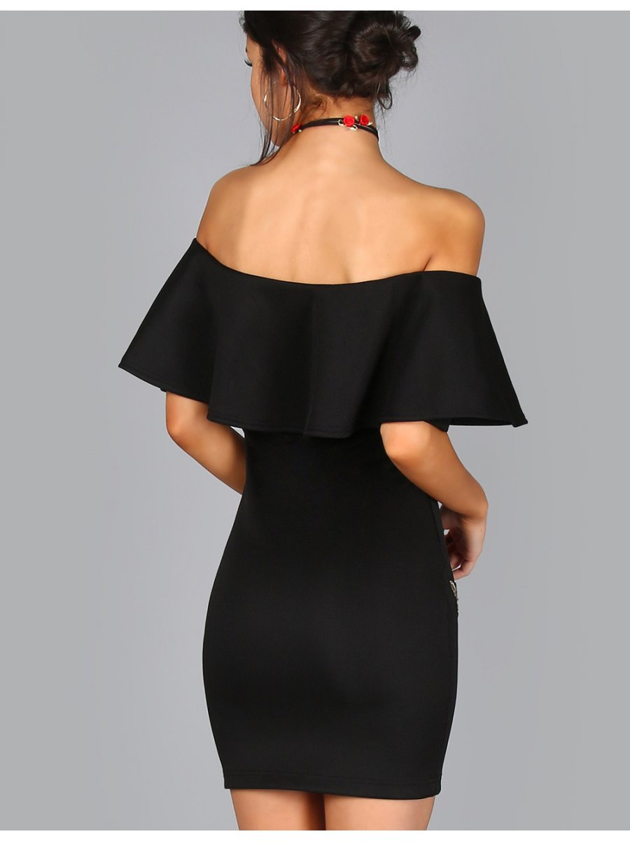 67a78eb4c5 Black Ruffle Off-shoulder Embroidery Bodycon Dress