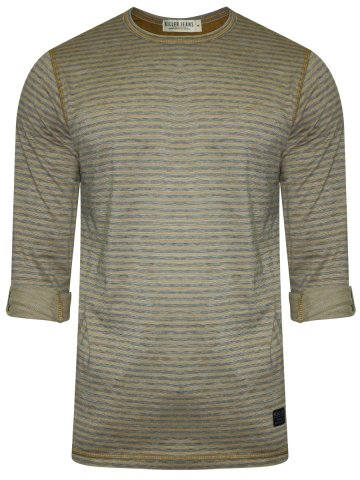 Killer Light Brown & Grey Henley Full Sleeves T-Shirt at cilory