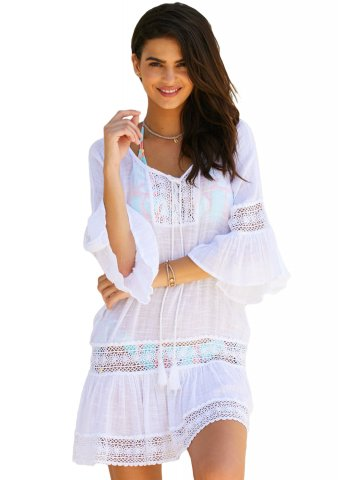 Buy Swimming Costume Online India White Loose Beach Kaftan With