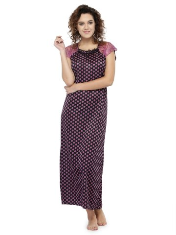 Buy Nighty Online | Long Night Gown For Women With Polka Dot Print ...