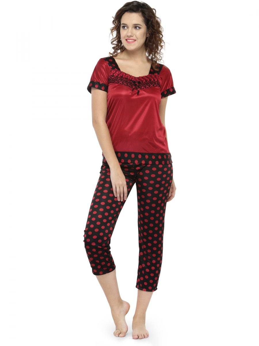 bb6ec9f06174 Women Polka Dot Print Pajama Set Nightwear