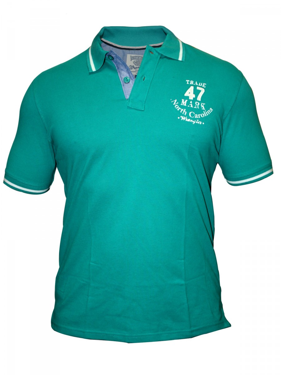 Buy t shirts online wrangler men teal blue polo t shirt for Mens teal polo shirt