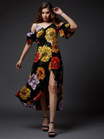 2ab83ea47c098 Estonished Black Floral Print Slit Maxi Dress